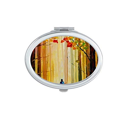 Blueairs Autumn Maple Forest Riding Horse On Road Oil Painting Oval Compact Makeup Pocket Mirror Portable Cute Small Hand Mirrors Gift ()
