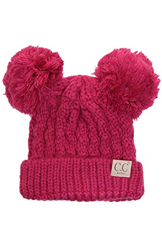 ScarvesMe CC Children Kids Girl Boy Ages 2-7 Knitted Chunky Thick Stretchy Solid Color Pom Pom Beanie by ScarvesMe (Image #1)
