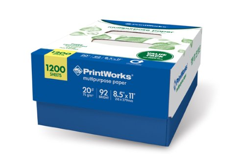 Printworks Multipurpose Paper 20 Pound, 92 Brightness, 8.5 x 11-Inches, Smooth White, 1 Case of 1200 Sheets (50492), Office Central