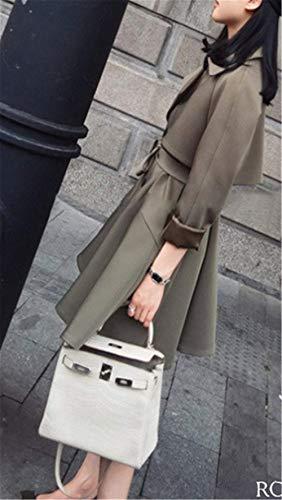 Vento Breasted Eleganti Manica Cintura Bavero Coat Outwear Laterali Trench Donna Targogo Double Lunga Abbigliamento Armgrün Invernali Giacca Inclusa Tasche Confortevole qatXRcU0w