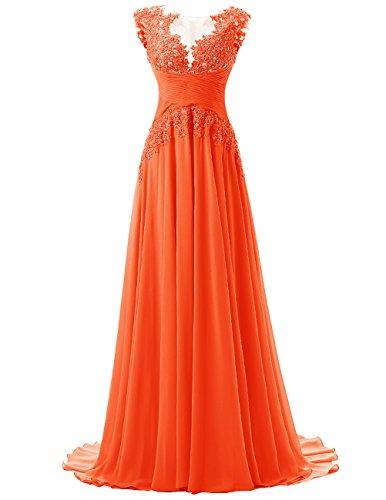 Dresstells®Vestido De Gala Fiesta Atractivo Elegante Largo Con Aplicaciones De Gasa Naranja