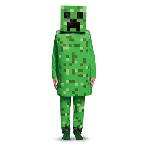 Creeper Deluxe Minecraft Costume, Green,