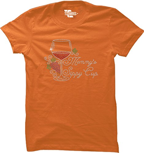Tcombo Mommy's Sippy Cup Rhinestone Women's T-shirt (Orange, (Orange Ladies Rhinestone T-shirt)