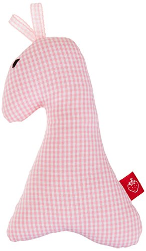 La Fraise Rouge 4251005602768 Rattle Giraffe Julie Vichy Check Pink/White