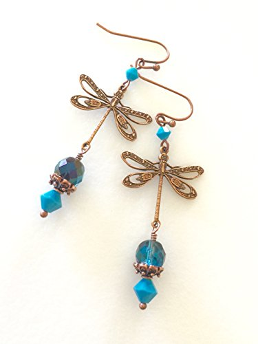 Teal And Turquoise Dragonfly Earrings, Swarovski Crystal Dragonfly Earrings, Copper Filigree Dragonfly Earrings, Dragonfly ()