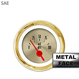 Aurora Instruments 4257 American Classic Oil Pressure Gauge (Gold Face, Red Vintage Needles, Gold Bezels)