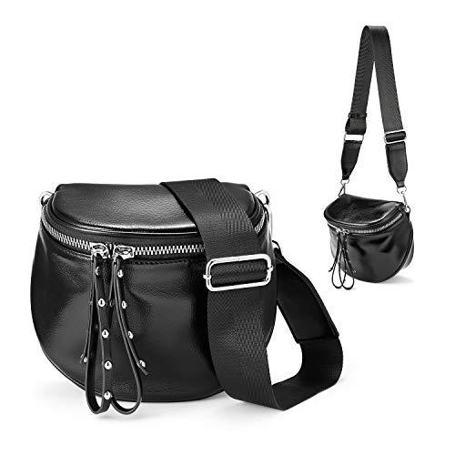 Realer Lightweight Crossbody Bags for Women Bucket Bag Chic Phone Purse with Tassel | Zipper Pocket | Adjustable Strap Black ()