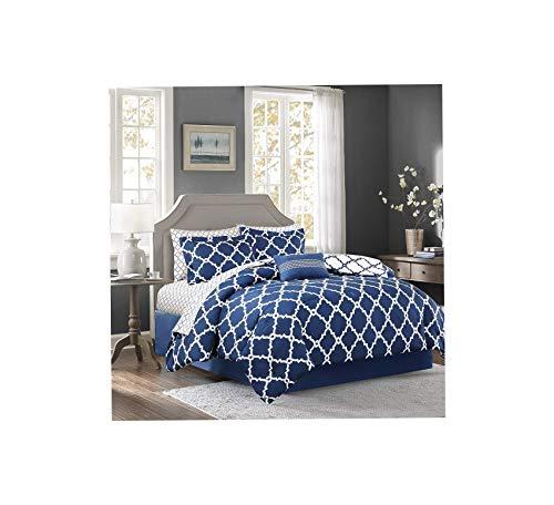 Wood & Style Essentials Merritt Complete Bed and Sheet Set Queen Navy Comfy Living Home Décor Furniture Heavy Duty (Home Furniture Merritt)