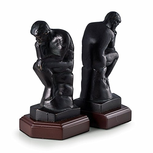 KensingtonRow Home Collection Bookends - The Thinker Bookends - Bronzed Metal on Wood Stand Bookends - Book End