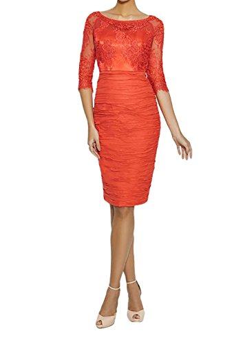 Charmant Damen Orange Hundkragen Langarm Spitze Brautmutterkleider Abendkleider Partykleider Kurz