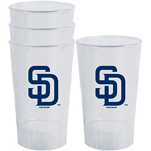 (Memory Company MLB Team Logo 4 Pack Plastic Tumbler Cups 16 Ounces (San Diego Padres) )