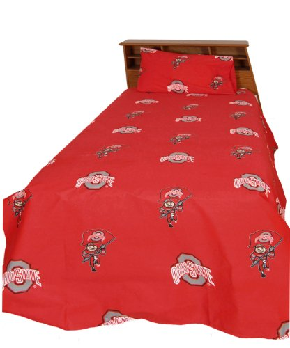 Collegiate Buckeyes Full Sheet Set - Red NCAA Ohio State Bedding Sheets Full Bed by College Covers