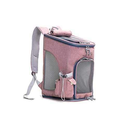 shine-hearty Linen Cloth Go Out Doggie Bags on Shoulders Large Space Ultra-Breathable Foldable Pet Backpack for Travel Pet Carrier Bag,Khaki,28x28x43 ()