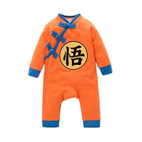 Baby Dragon Ball Z Costume Newborn Long Sleeve Bodysuit Outfits (80, Orange) ()