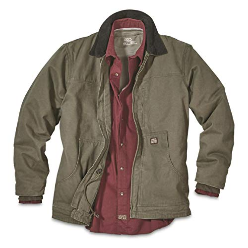 - Gravel Gear Men's Washed Duck Insulated Chore Coat, Moss, L