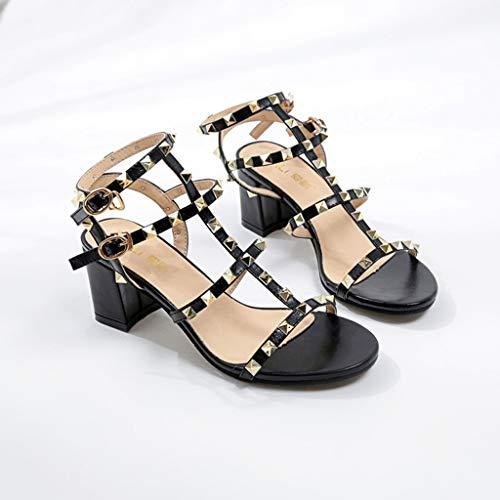 élégants Talons Noir pour boucle Chaussures carrés talons femmes avec Sandales Peep Toe d'été Chaussures Rivet talons hauts compensés fantaisie Bracelet à à X5wt41q4