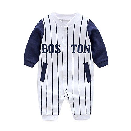 25a81a6c23abb DOESLOOK ベビー服 男の子 野球 乳児 ロンパース 新生児 服 前開き 長袖 柔らかい綿 赤ちゃん肌着 春
