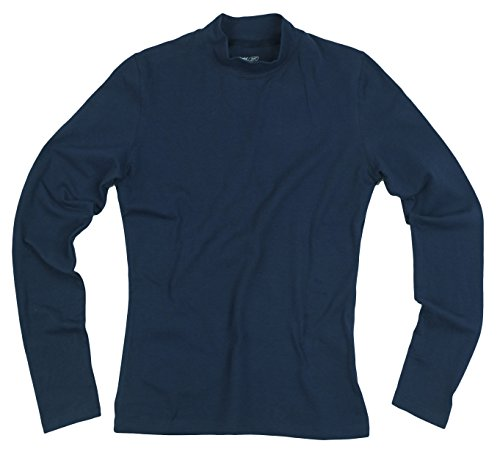 Reebok Womens Long Sleeve Mock Collar Athletic Shirt (Medium, Navy) (Sleeve Reebok Long)