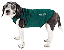 Pet Life Active 'Aero-Pawlse' Heathered Quick-Dry and 4-Way Stretch-Performance Dog Tank Top T-Shirt, Large, Green