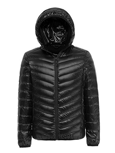 33a343348 Lanmay Men's Ultralight Packable Hooded Down Jacket Puffer Down Coats  (Medium, Black)
