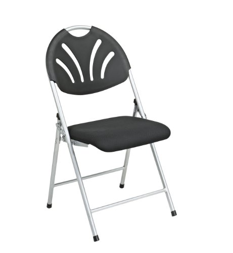 Seat Padded Fan - Office Star Ventilated Plastic Fan Back Folding Chair with Padded Mesh Seat and Silver Frame, 4-Pack, Black
