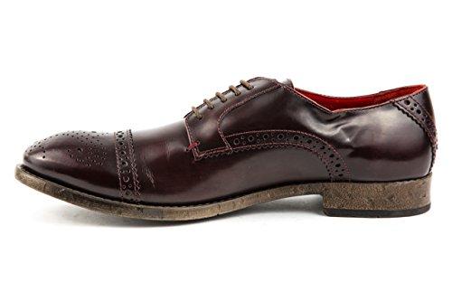 Base London - Zapatos de cordones de Piel Lisa para hombre 43 borgoña