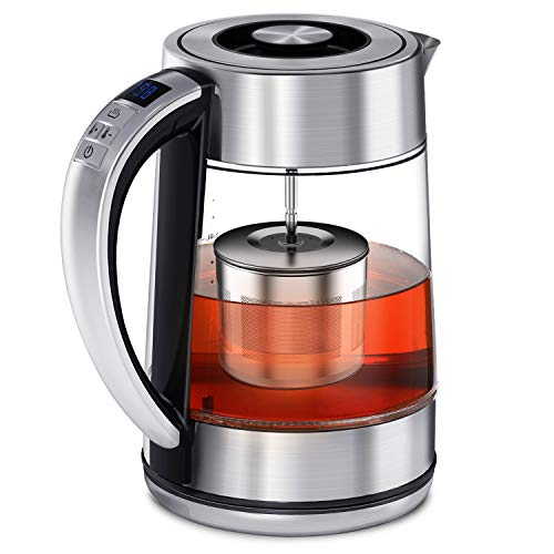 FEBOTE Electric Tea Kettle, 2 in 1 Glass Kettle Teapot With Infuser, Hot Water Heater Variable Temperature Control, Reinforce Stainless Steel Body, Removable Lid For Easy Clean, 1500W-1.7L (BPA-Free) Perfect for Loose Leaf Tea, Blooming Tea