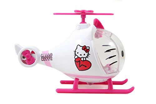 41JWd%2BkQVvL Helicóptero de juguete de Hello Kitty diseñado en colores brillantes rosa y blanco, recomendado para niños a partir de 3 años Equipado con una cabina de cristal cuyo parabrisas puede abrirse muy fácilmente; una pequeña figura de Hello Kitty toma su lugar en la palanca de conducción y tiene todo bajo control La camilla se puede sujetar a la parte inferior del helicóptero para poder despegar sin problemas