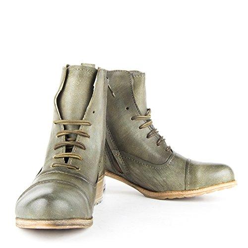 Felmini - Chaussures Femme - Tomber en amour avec Enrico P870 - Bottes - Cuir véritable - VertEU Size