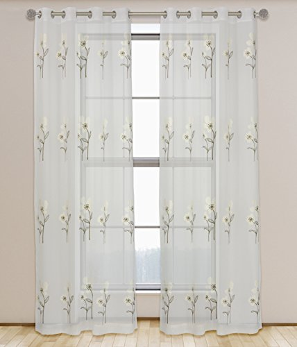 589 Dining Set - LJ Home Fashions Daffodil Sheer 'Filled' Embroidered Botanical Floral Grommet Curtain Panels (Set of 2) 54x95-in, White/Green