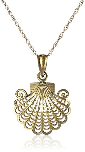 14k Yellow Gold Filigree Sea Shell Pendant Necklace, 18