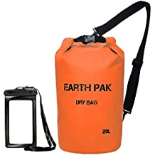 Earth Pak -Waterproof Dry Bag - Roll Top Dry Compression Sack Keeps Gear Dry for Kayaking, Beach, Rafting, Boating, Hiking, Camping and Fishing with Waterproof Phone Case