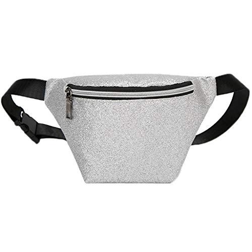 (Dainzuy Waist Bags for Women Fashion, Ultra-Slim Fanny Pack Holographic Glitter Metallic Furry Bum Bag Shoulder Bags)