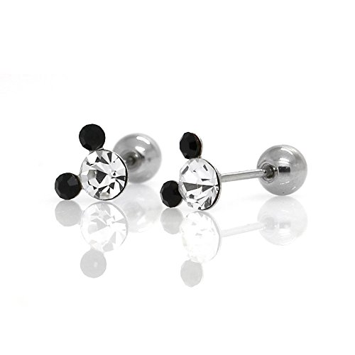 Crystal Mickey Ball - Michey mouse Earrings 4mm Crystal Screw back ball Surgical steel (Clear,Black 2tone)