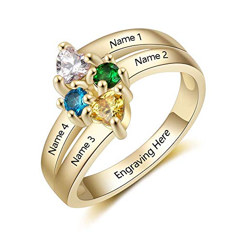 Lam Hub Fong Personalized Mothers 4 Simulated Birthstones Rings for Mom Mother's Day Family Name Rings for 4 Gold (7)