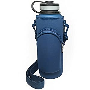 Onoola 40oz Pocket Carrier for Hydro Flask Type Bottles with Adjustable Straps (Neoprene Sleeve/pouch) (Blue)