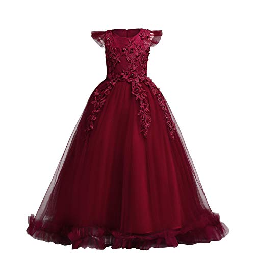 Big Little Girl Princess Embroidery Flower Lace Long A Line Pageant Dress Kids Floor Length Prom First Holy Communion Bowknot Dress Puffy Tulle Maxi Ball Gown for Wedding Party Birthday Red 5-6