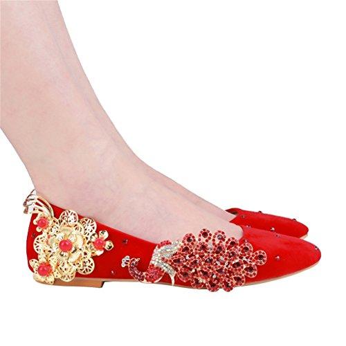 da sposa in pelle scamosciata sottili cinese con scarpe con tacchi sottili scamosciata (fondo piatto) -   da sposa da donna (Colore : Red, dimensioni : 35-Shoes long225mm) Red 42e82f