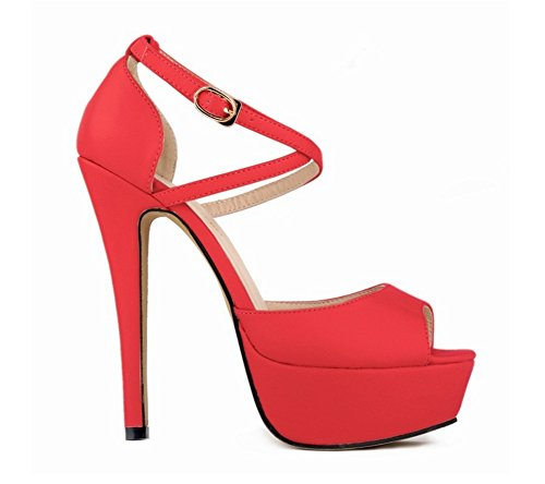Con Summer Impermeabile Alto Mouth Large 35 Nvxie Sandali Donna Tacco 41 Night Club Col Piattaforma Yard Scarpe Red Fish wIqx81z