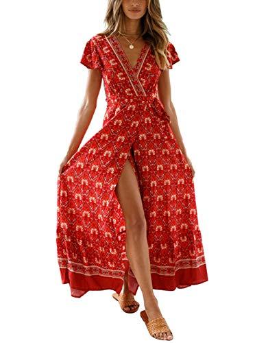 Women's Boho Floral Ruffle Dress Beach Party Tunic V Neck Wrap Split Maxi Swing Sundress (S, Red 2) ()