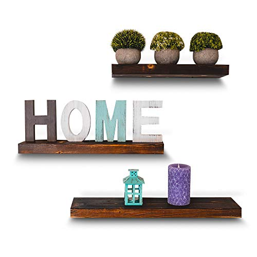 East World Torched Floating Shelves Set of 3 Rustic Wood Wall Shelf with Hardware! Easy to Install Shelving and Rustic Wall Decor - Bathroom Shelf, for Kitchen Wall Decor, Living Room, Bedrooms (Bathroom Wood Set)