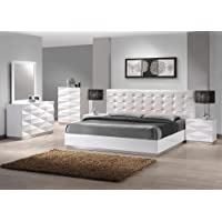 J&M Furniture Verona White Lacquer & Leather Queen Size Bedroom Set