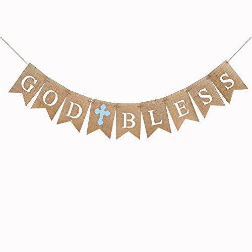 iMagitek God Bless Baptism Burlap Banners for Boy First Holy Communion, Blue Burlap Banners Garland Bunting Flags For Wedding Baby Shower Birthday Christening Baptism Party Decorations ()