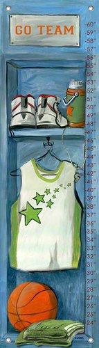 All Star Growth Chart - Oopsy Daisy Basketball Locker Growth Chart by Jones Segarra, 12 by 42-Inch