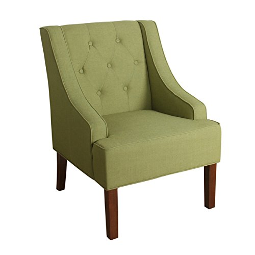 HomePop Kate Tufted Swoop Arm Accent Chair, Green (Green And White Accent Chair)
