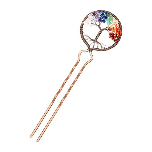Quartz Stick Pin - Tree of Life Hair Clips Natural Gemstone Handmade Chakra Jewelry Multi Colored Crystal Hair Pins for Mothers Gift