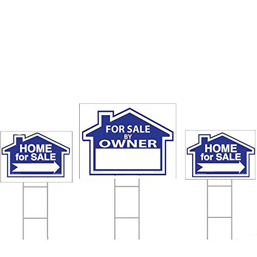 Owner Sign Kit - Sam's Signs for Sale by Owner Sign Kit - 3 Double Sided Signs and 3 Heavy Duty H-Stakes - Blue Property Signs 18