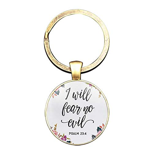 Inscription Bible Verse Bronze Keychain, Christian Scripture Gifts Car Keyring (5 Psalm 23:4)