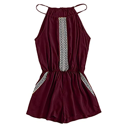 (LUXISDE Summer Jumpsuits for Women Casual Embroidered Tape Detail Camis Romper with Pockets Playsuits Wine)