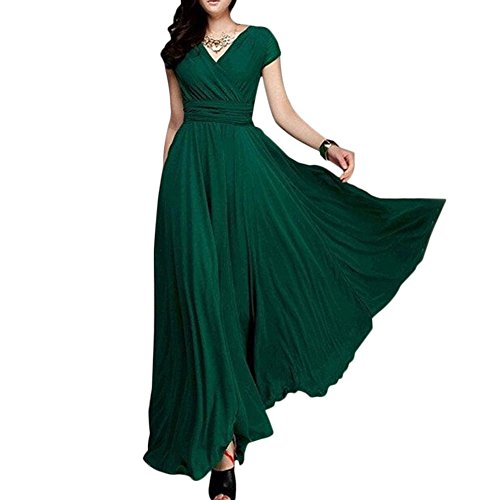 Women's Boho Solid Chiffon V-Neck Cocktail Bridesmaid Evening Party Gown Ball Prom Long Maxi Swing Dress Dark Green M/US 10